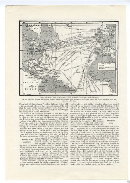 1917 WW1 MAP TRANSATLANTIC Shipping Routes USA Navy BATTLESHIPS DREADNOUGHT (83)